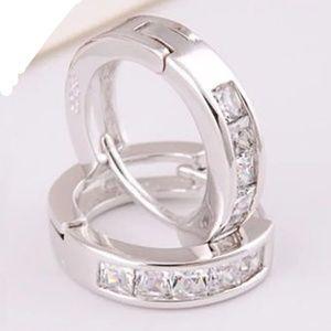 Jewelry - 925 Sterling Huggie Channel Set Crystal Hoops